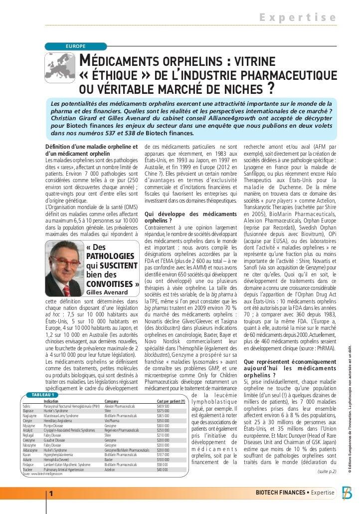 MÉDICAMENTS ORPHELINS : VITRINE                                              « ÉTHIQUE » DE L'INDUSTRIE PHARMACEUTIQUE    ...