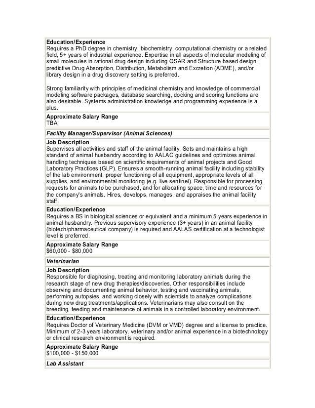 Biotech job descriptions salary ranges 10 malvernweather Gallery