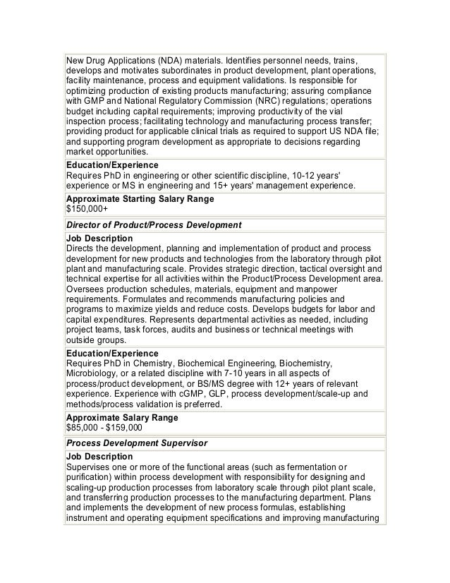 approved 12 biochemical engineering job description