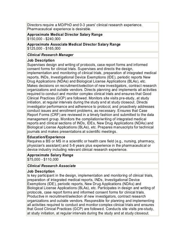 Biotech job descriptions salary ranges – Medical Director Job Descriptions