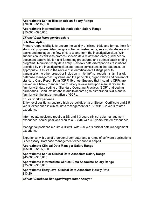 28. Approximate Senior Biostatistician ...