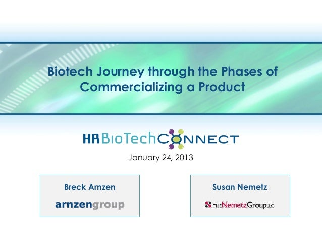 Biotech Journey through the Phases of     Commercializing a Product                 January 24, 2013  Breck Arnzen        ...