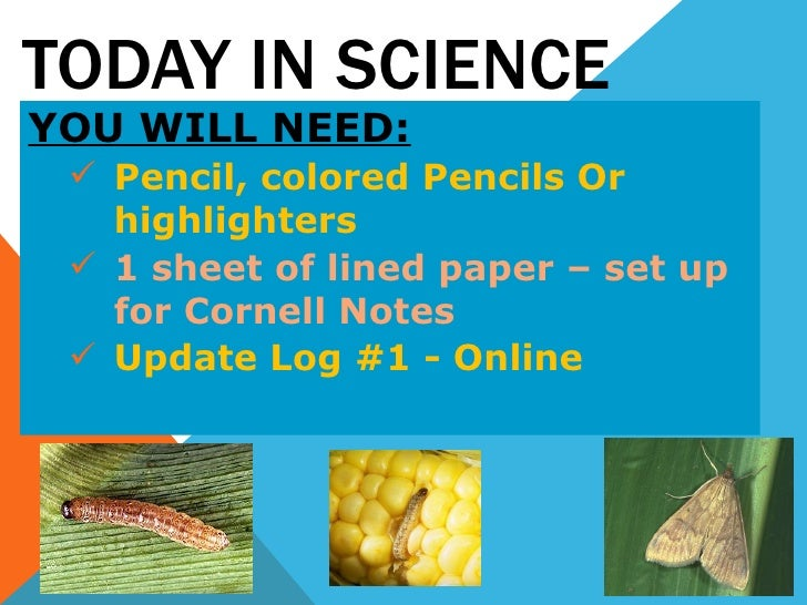 TODAY IN SCIENCE <ul><li>YOU WILL NEED: </li></ul><ul><ul><li>Pencil, colored Pencils Or highlighters </li></ul></ul><ul><...