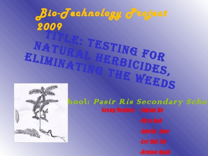 Title: Testing for natural herbicides, Eliminating the weeds School:  Pasir Ris Secondary School Group Member:  - Fabian H...