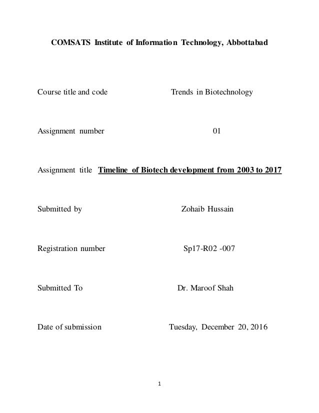 Timeline of Biotech development from 2003 to 2017