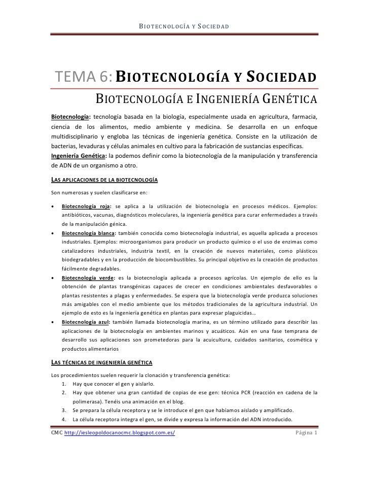 B I OT E C NOLOGÍ A   Y   S OC I E DA D                 BIOTECNOLOGÍA E INGENIERÍA GENÉTICA    TEMA 6: B IOTECNOLOGÍA Y S ...
