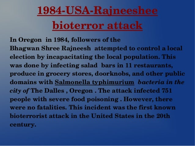 bioterrorism still a threat to the Response to bioterrorism incident or threat the examples and perspective in this section deal primarily with the united states and do not represent a worldwide view of the subject  you may improve this article , discuss the issue on the talk page , or create a new article , as appropriate.