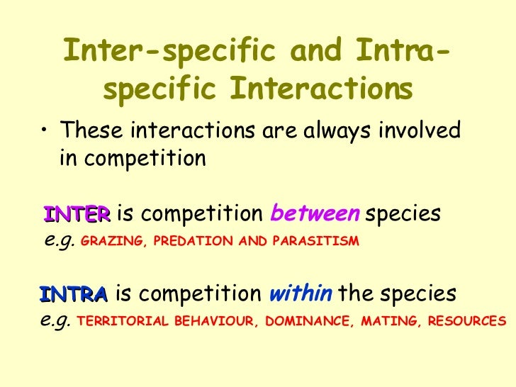 inter and intraspecific relationship