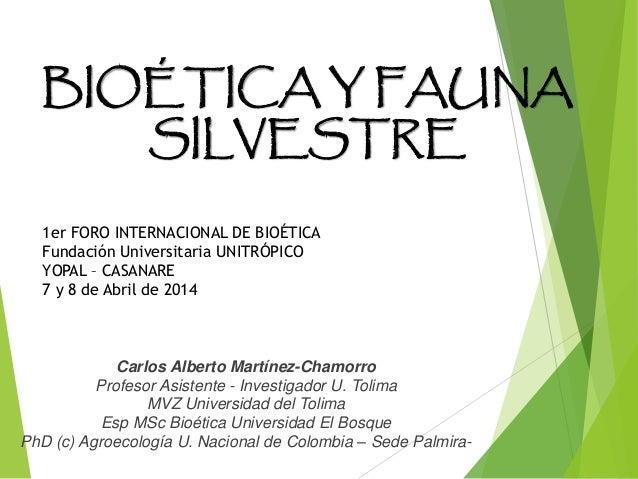 BIOÉTICA Y FAUNA SILVESTRE Carlos Alberto Martínez-Chamorro Profesor Asistente - Investigador U. Tolima MVZ Universidad de...