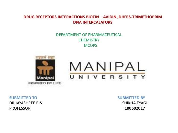 DRUG RECEPTORS INTERACTIONS BIOTIN – AVIDIN ,DHFRS-TRIMETHOPRIM                             DNA INTERCALATORS             ...