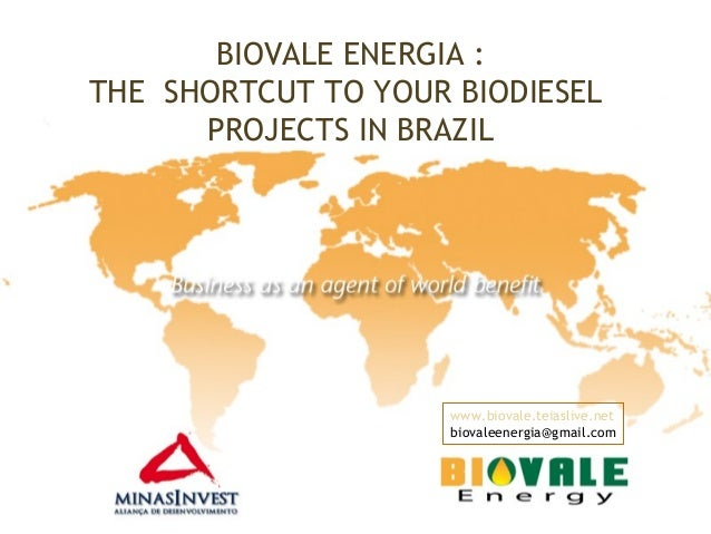 BIOVALE ENERGIA :THE SHORTCUT TO YOUR BIODIESELPROJECTS IN BRAZILwww.biovale.teiaslive.netbiovaleenergia@gmail.com