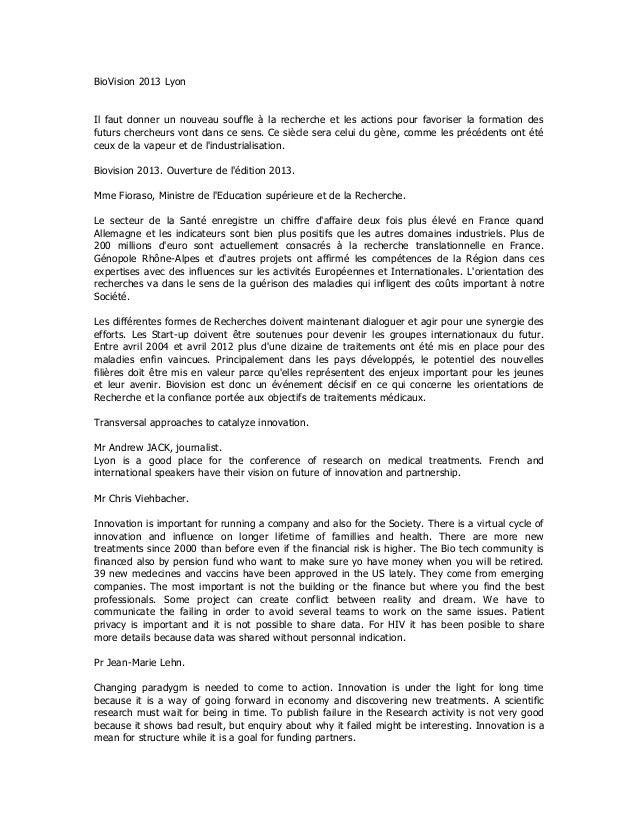 BioVision 2013 LyonIl faut donner un nouveau souffle à la recherche et les actions pour favoriser la formation desfuturs c...