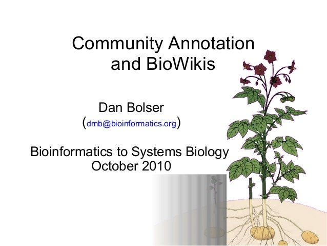 1 Dan Bolser (dmb@bioinformatics.org) Bioinformatics to Systems Biology October 2010 Community Annotation and BioWikis