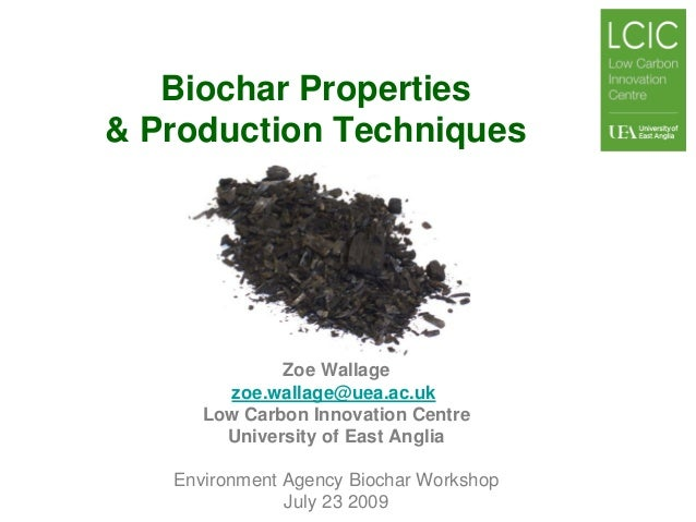 Biochar Properties & Production Techniques  Zoe Wallage zoe.wallage@uea.ac.uk Low Carbon Innovation Centre University of E...