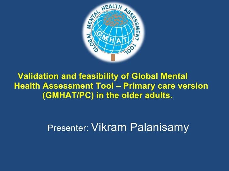 Validation Of Global Mental Health Scale Prize Presentation