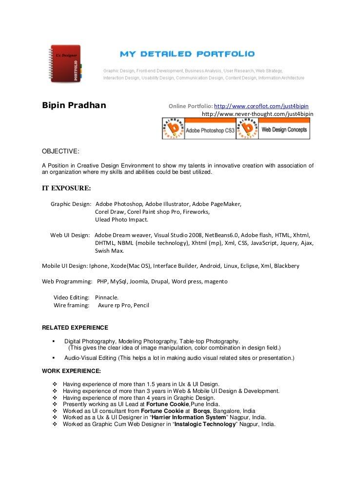 Bipin Pradhan Online Portfolio: ...  Ui Designer Resume
