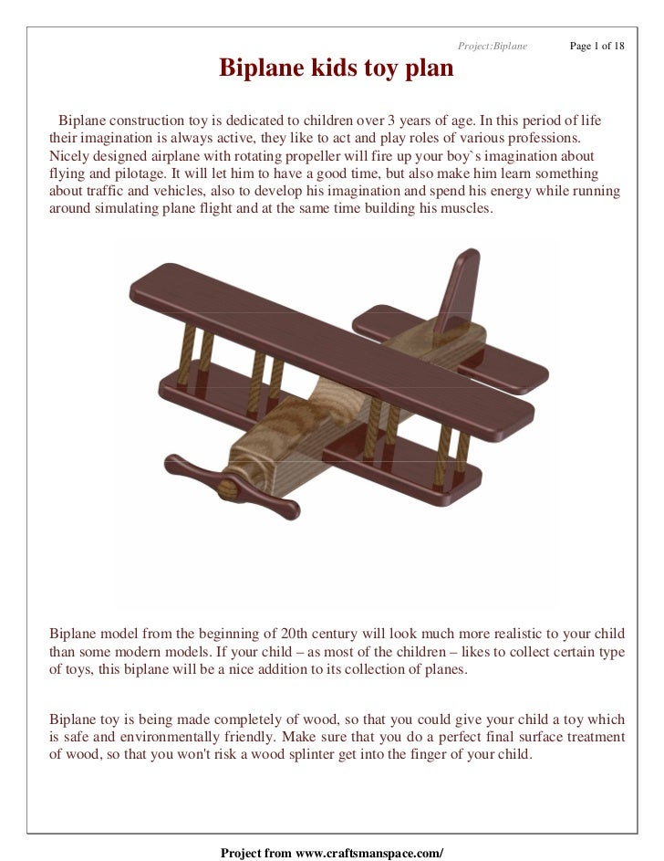 Project:Biplane   Page 1 of 18                            Biplane kids toy plan  Biplane construction toy is dedicated to ...