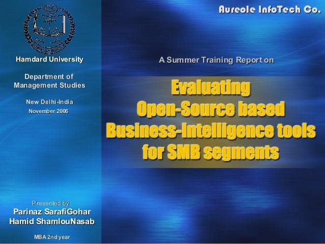 Aureole InfoTech Co. Hamdard University    A Summer Training Report on   Department of Management Studies    New Delhi-Ind...