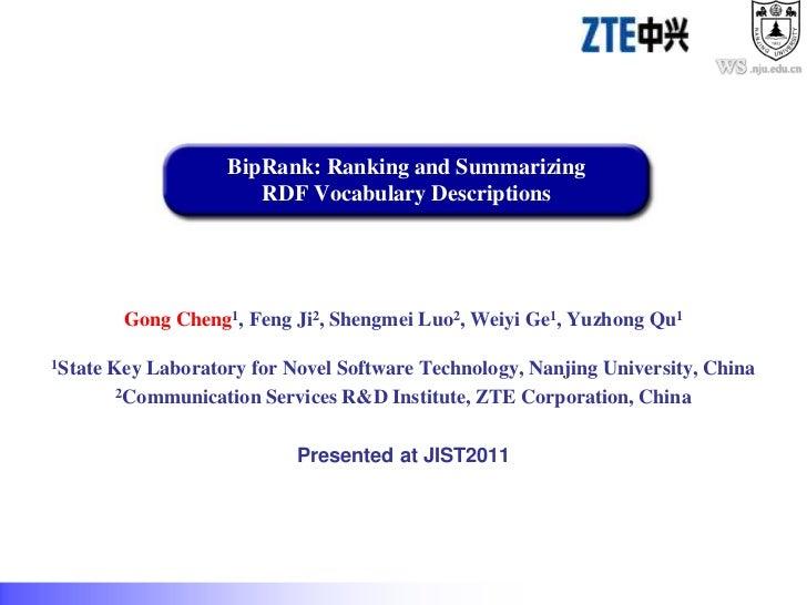 .nju.edu.cn                      BipRank: Ranking and Summarizing                         RDF Vocabulary Descriptions     ...
