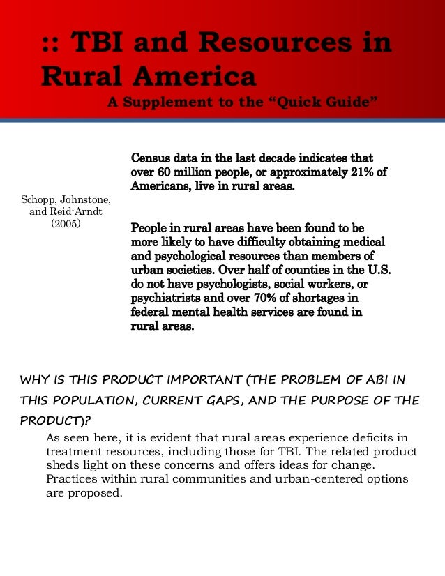 """:: TBI and Resources in   Rural America                 A Supplement to the """"Quick Guide""""                     Census data ..."""