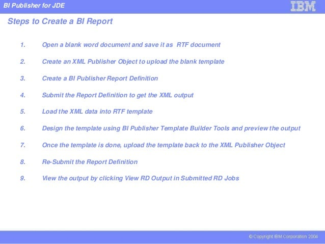 Bi publisher for jde for How to create rtf template for xml publisher