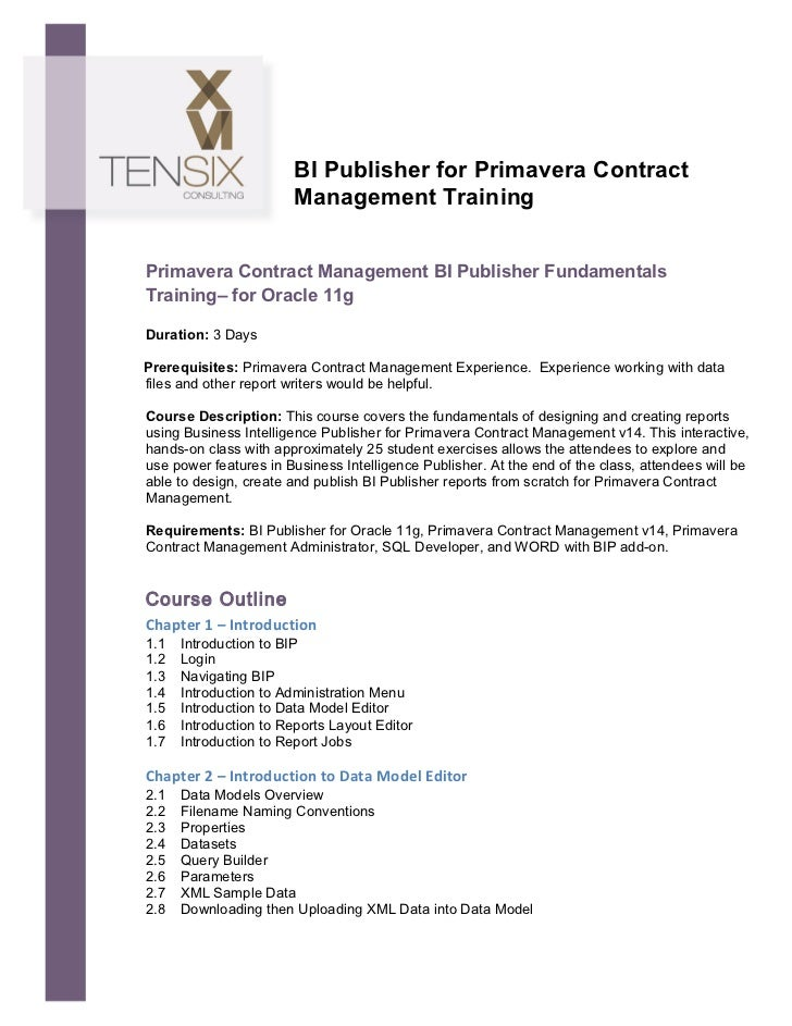 BI Publisher for Primavera Contract                                      Management...
