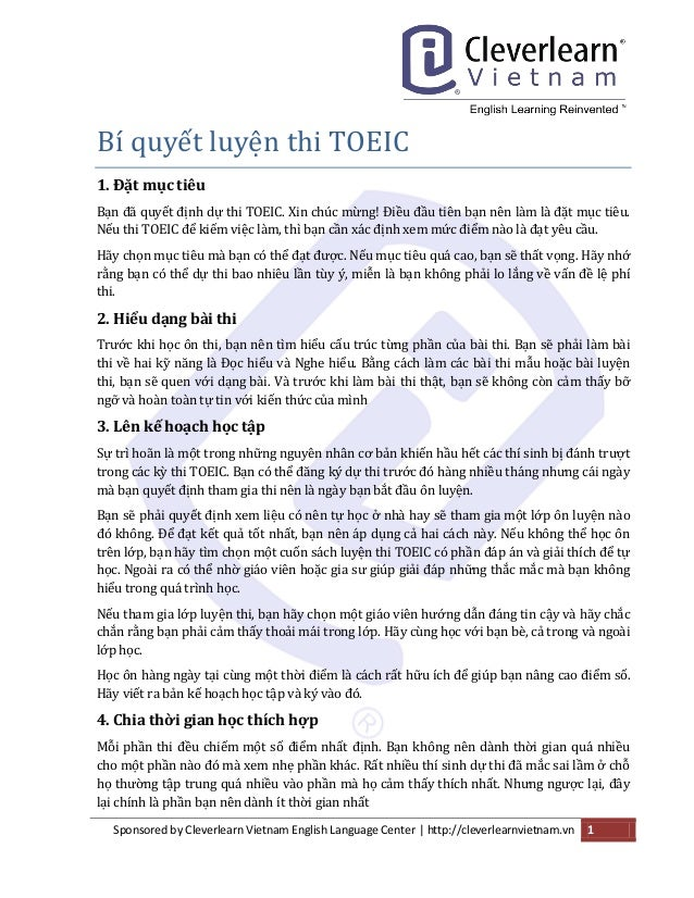 Sponsored by Cleverlearn Vietnam English Language Center | http://cleverlearnvietnam.vn 1  Bí quye t luye n thi TOEIC  1. ...
