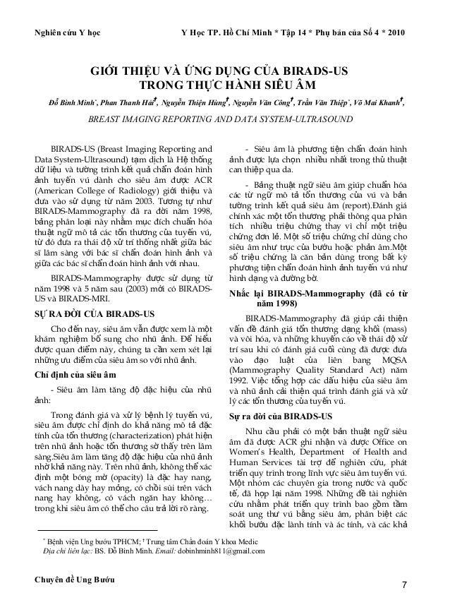 Nghiên cứu Y học Y Học TP. Hồ Chí Minh * Tập 14 * Phụ bản của Số 4 * 2010 GIỚI THIỆU VÀ ỨNG DỤNG CỦA BIRADS-US TRONG THỰC ...