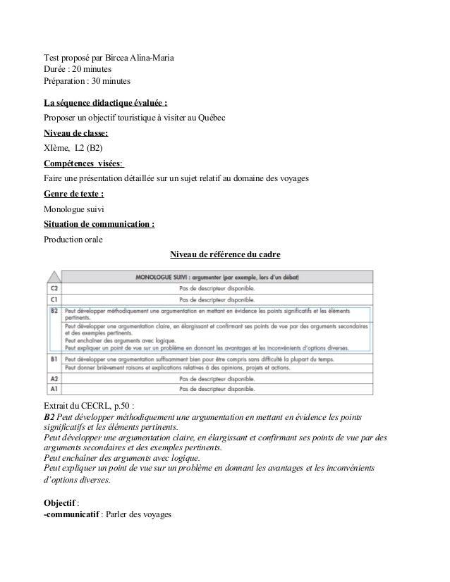 Test proposé par Bircea Alina-MariaDurée : 20 minutesPréparation : 30 minutesLa séquence didactique évaluée :Proposer un o...