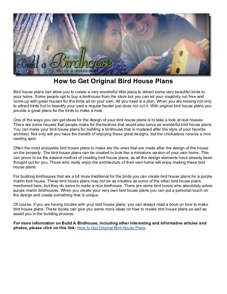 How to get original bird house plans for How to get blueprints of my house
