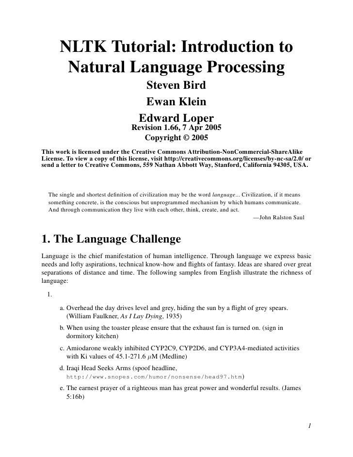 NLTK Tutorial: Introduction to        Natural Language Processing                                       Steven Bird       ...