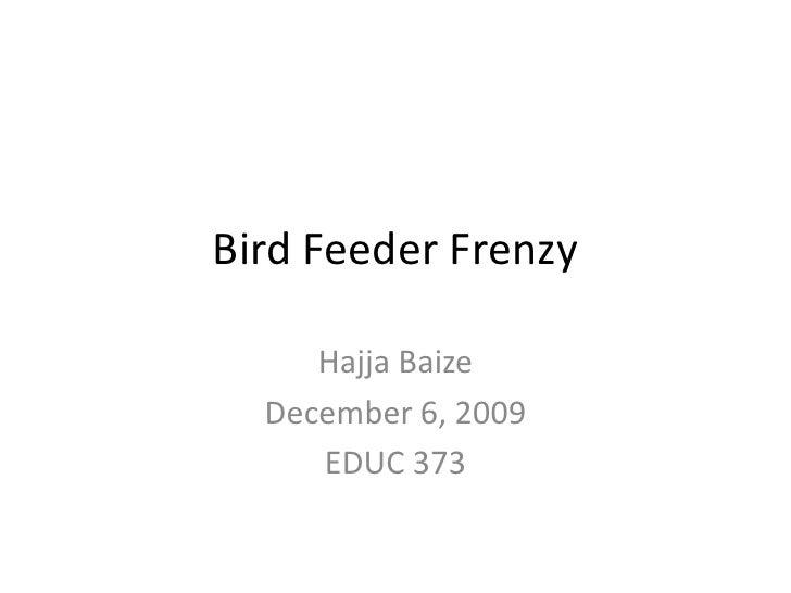 Bird Feeder Frenzy<br />Hajja Baize<br />December 6, 2009<br />EDUC 373<br />
