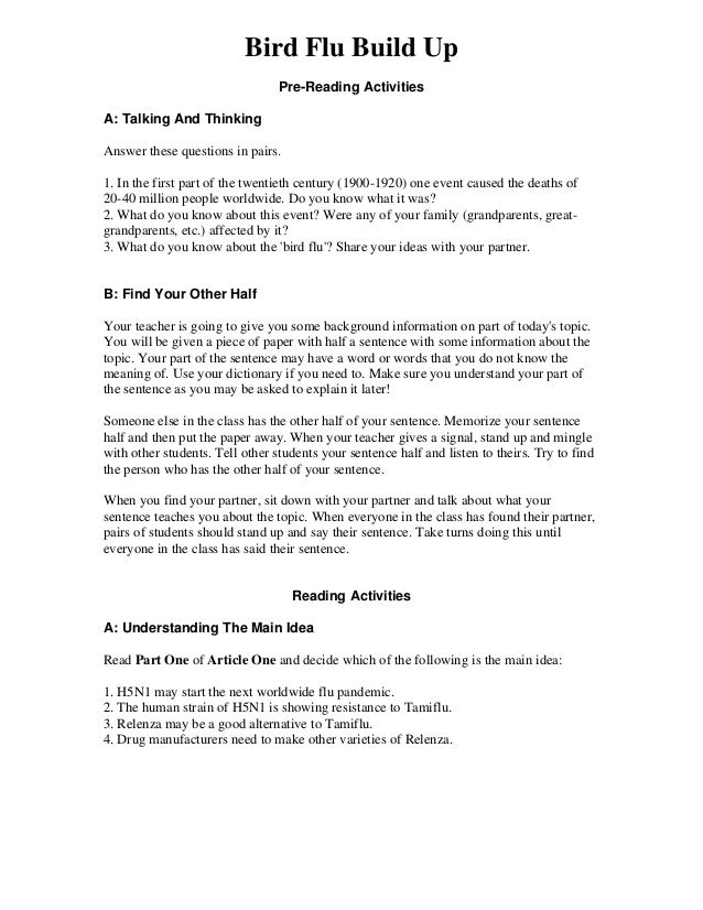 Bird Flu Build Up Pre-Reading Activities A: Talking And Thinking Answer these questions in pairs. 1. In the first part of ...