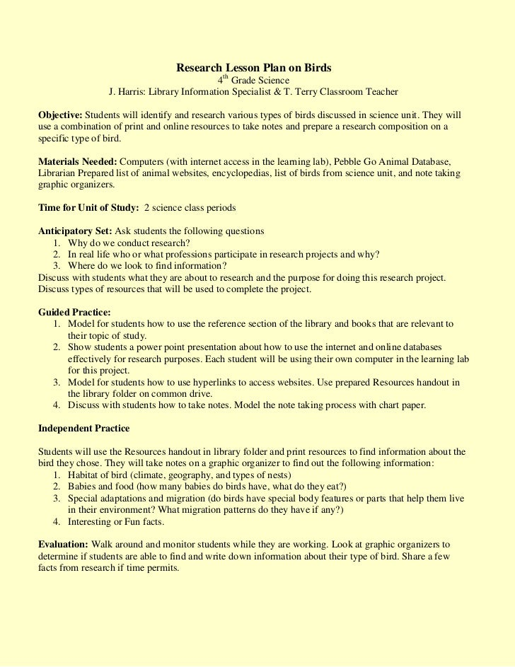 Research Lesson Plan on Birds<br />4th Grade Science<br />J. Harris: Library Information Specialist & T. Terry Classroom T...