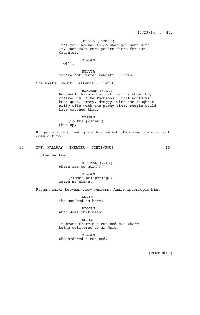 Birdman Screenplay Pdf