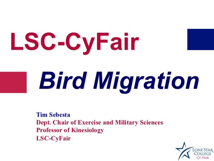 LSC-CyFair  Bird Migration  Tim Sebesta  Dept. Chair of Exercise and Military Sciences  Professor of Kinesiology  LSC-CyFair