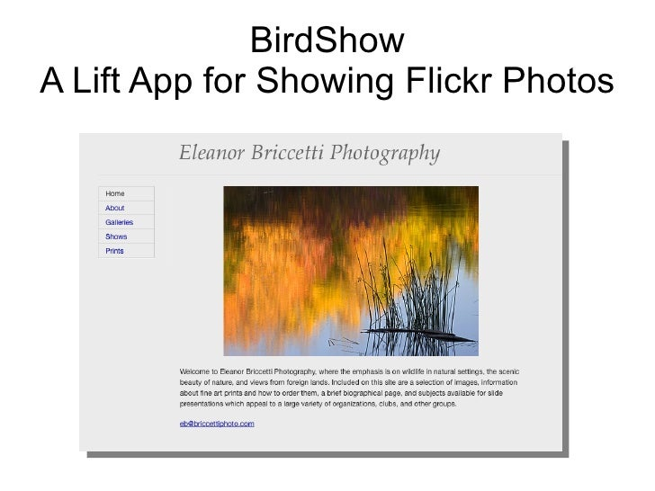 BirdShow A Lift App for Showing Flickr Photos