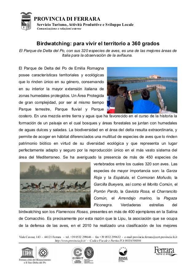 PROVINCIA DI FERRARAServizio Turismo, Attività Produttive e Sviluppo LocaleComunicazione e relazioni esterneBirdwatching: ...