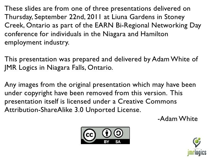 These slides are from one of three presentations delivered onThursday, September 22nd, 2011 at Liuna Gardens in StoneyCree...