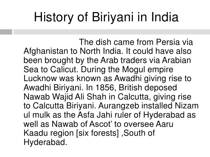 Biriyani online food ordering online food delivery for Awadhi cuisine history