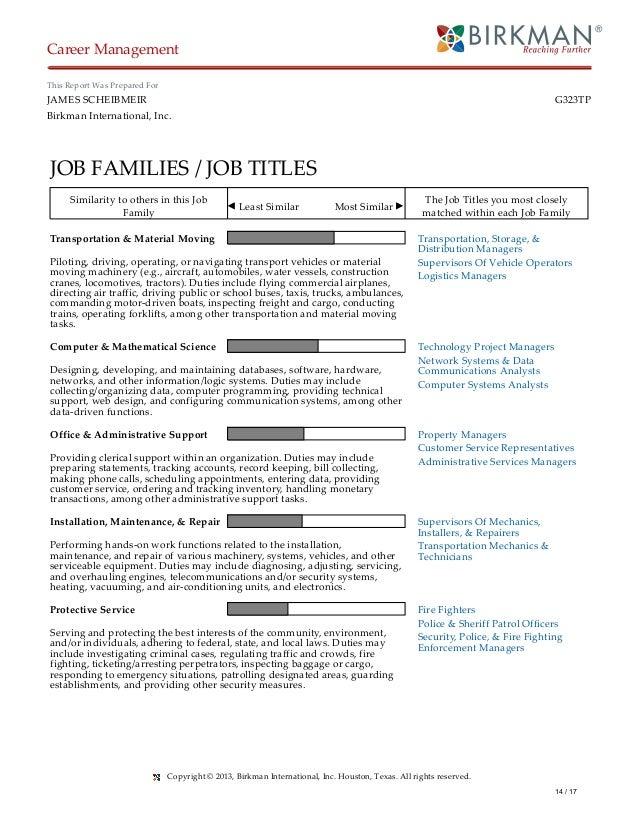 Birkman - Scheibmeir Results on bob job, tony job, charlie job,