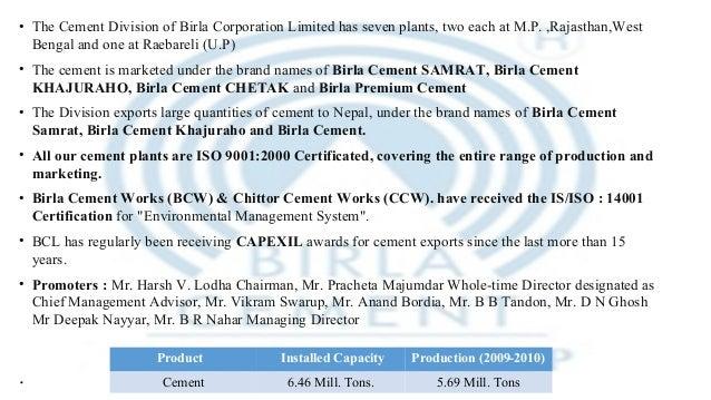 Chittorgarh Birla Cement Works : Birla corporation limited inventory analysis