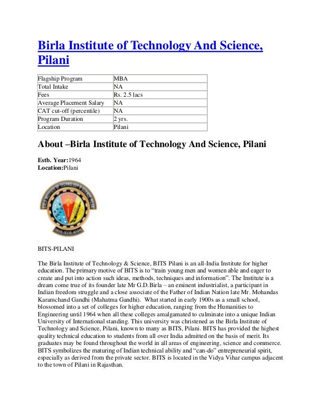 Birla Institute of Technology And Science,PilaniFlagship Program              MBATotal Intake                  NAFees     ...