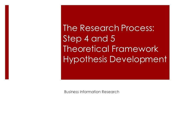 The Research Process:  Step 4 and 5 Theoretical Framework Hypothesis Development Business Information Research