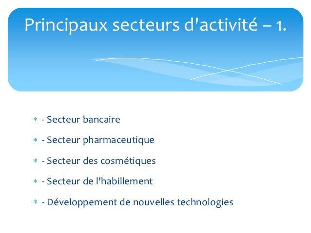 Principaux secteurs dactivité – 1.  - Secteur bancaire  - Secteur pharmaceutique  - Secteur des cosmétiques  - Secteur de ...