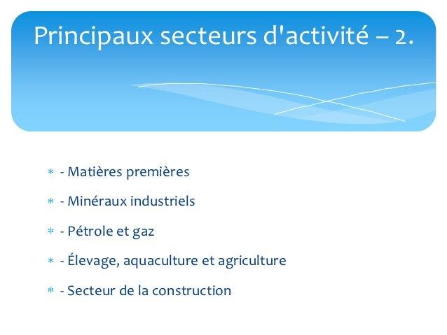 Principaux secteurs dactivité – 2.  - Matières premières  - Minéraux industriels  - Pétrole et gaz  - Élevage, aquaculture...