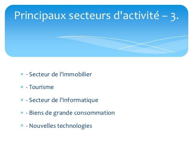 Principaux secteurs dactivité – 3.  - Secteur de limmobilier  - Tourisme  - Secteur de linformatique  - Biens de grande co...