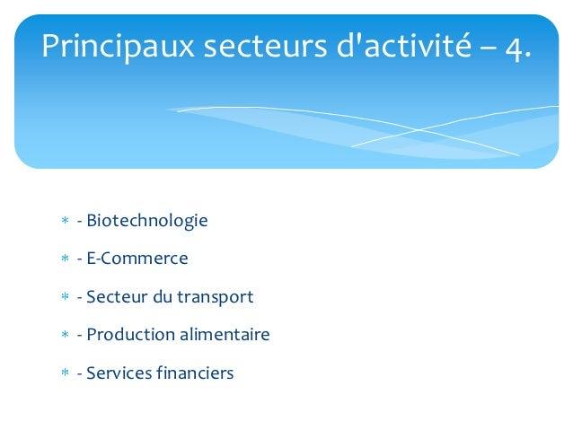 Principaux secteurs dactivité – 4.  - Biotechnologie  - E-Commerce  - Secteur du transport  - Production alimentaire  - Se...