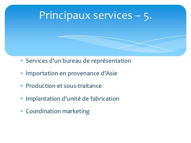 Principaux services – 5.Services dun bureau de représentationImportation en provenance dAsieProduction et sous-traitanceIm...