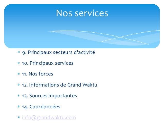 Nos services9. Principaux secteurs dactivité10. Principaux services11. Nos forces12. Informations de Grand Waktu13. Source...